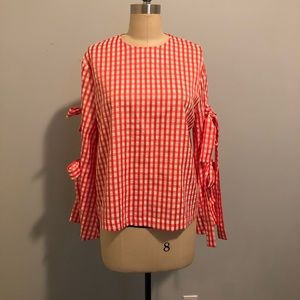 Gingham tie sleeve top by Style Mafia